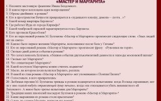 "Тест по роману ""мастер и маргарита"" булгакова в вопросах и ответах (викторина)"