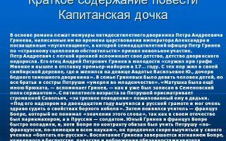 """Краткое содержание """"капитанская дочка"""" пушкина: пересказ сюжета, роман в сокращении"""