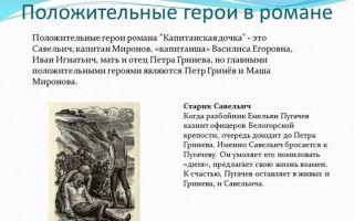 """Положительные и отрицательные герои романа """"капитанская дочка"""" пушкина: список персонажей"""