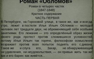 """Краткий пересказ романа """"обломов"""" по частям (краткое содержание)"""