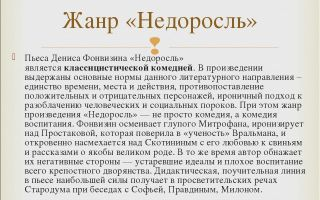 """Жанр пьесы """"недоросль"""" фонвизина: особенности и своеобразие произведения"""