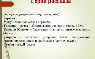 """Герои рассказа """"муму"""" тургенева: характеристика, описание в таблице (список)"""