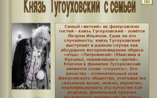 "Князь тугоуховский в комедии ""горе от ума"": образ, характеристика, описание в цитатах"