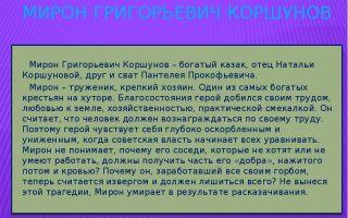 "Мирон коршунов в романе ""тихий дон"": образ и характеристика"