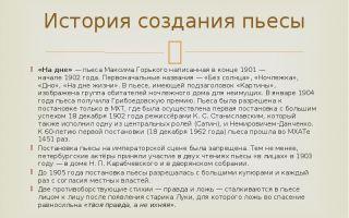 """История создания пьесы """"на дне"""" горького: этапы работы, интересные факты"""