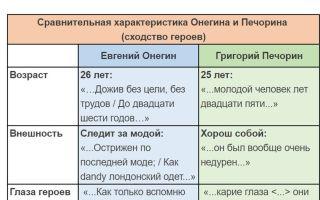 Сравнительная характеристика печорина и базарова: сравнение, сходство и различия (таблица)