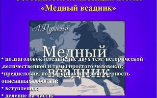 """Композиция поэмы """"медный всадник"""" пушкина: анализ особенностей"""
