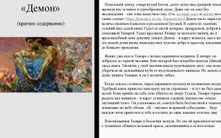 """Краткий пересказ поэмы """"демон"""" лермонтова по главам (краткое содержание)"""