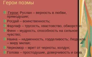 """Краткая характеристика героев поэмы """"руслан и людмила"""" пушкина: описание персонажей в таблице (список)"""