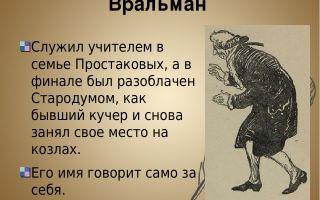 """Вральман в комедии """"недоросль"""": образ, характеристика, описание в цитатах"""